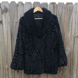 Black polka dot faux fur collar coat bell sleeves